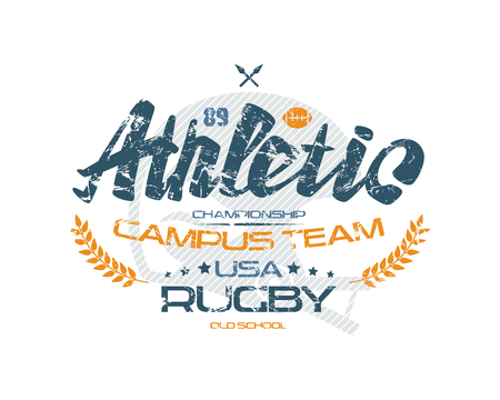 boyish: Rugby typographic emblem with shabby texture. Graphic design for t-shirt. Color print on white background Illustration