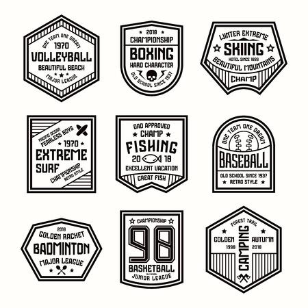 laconic: Set of sports badges. Basketball, boxing, baseball and other. Black print on white background Illustration