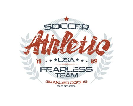 warlike: Soccer emblem with shabby texture. Graphic design for t-shirt. Color print on white background Illustration
