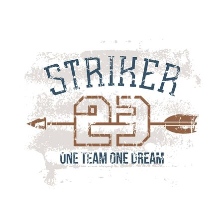 major league: Sports print striker in retro style. Trendy graphic design for t-shirt. Color print on a white background