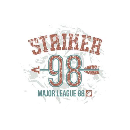 boyish: Striker emblem. Graphic design for t-shirt. Color print on a white background