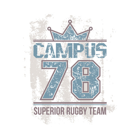 rugby team: Campus rugby team emblem in retro style. Trendy graphic design for t-shirt. Color print on a white background