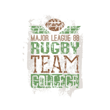 rugby team: Campus rugby team print in retro style. Trendy graphic design for t-shirt. Color print on a white background Illustration