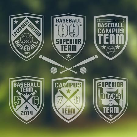 rebellious: Set of monochrome emblems  baseball team on blurred background Illustration