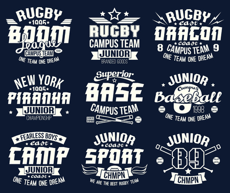 Baseball and rugby college team sport emblems . Graphic design for t-shirt. White print on a dark background Illustration