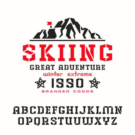 serif: Angular stencil-plate serif font. Graphic design for t-shirt. Print on white background