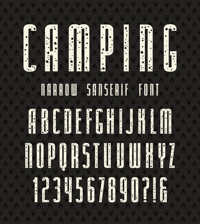 speckled: Narrow sanserif font with speckled texture. Bold face. White print on black background