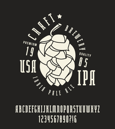 serif: Narrow serif font and craft brewery label. Bold face. White print on black background