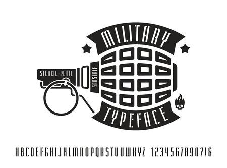 Narrow stencil-plate sanserif font. Bold face. Black print on white background