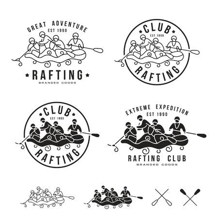 Rafting club emblem and design elements. Black print on white background