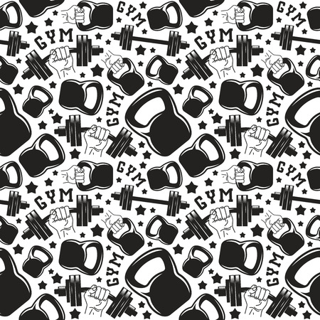 Seamless pattern gym club. Design for your textiles, backgrounds, wrapping paper. Black print on white background  イラスト・ベクター素材