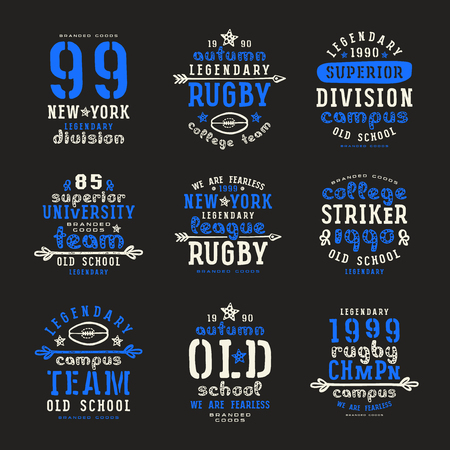 rugby team: Set of typographic  compositions for t-shirt. Rugby team. Print on black background Illustration