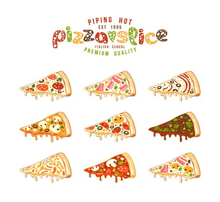 pizzeria label: Stock vector Illustration of pizza slices. Color print on white background