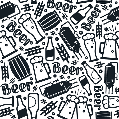 Craft beer brewery seamless pattern. Black print on white background  イラスト・ベクター素材