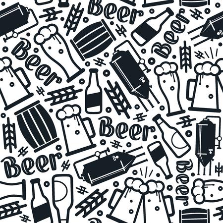 Craft beer brewery seamless pattern. Black print on white background Иллюстрация