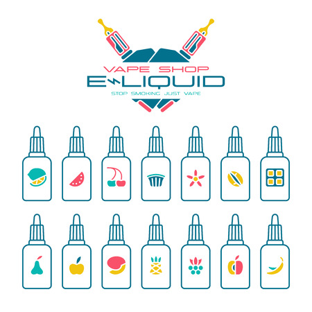 eliquid: Vape shop e-liquid flavors icons set in flat style. Color print on white background Illustration