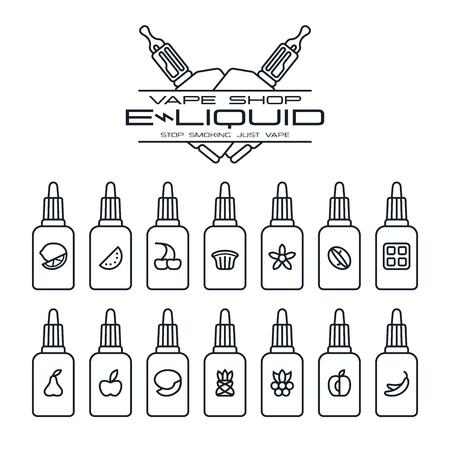 eliquid: Vape shop e-liquid flavors icons set in thin line style. Black print on white background Illustration
