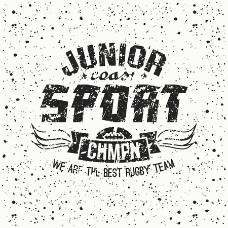 rugby team: Junior rugby team emblem. Graphic design for t-shirt.  Black  print on a  white background