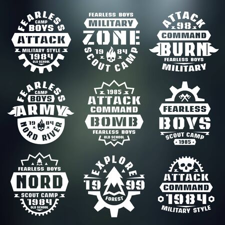 warlike: Military badges. Graphic design for t-shirt. White print on blurred background