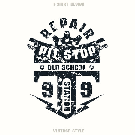 pit stop: Pit stop badge with shabby texture. Graphic design for t-shirt. Black print on white background