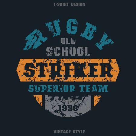 striker: Rugby striker emblem. Graphic design for t-shirt. Color print on black  background