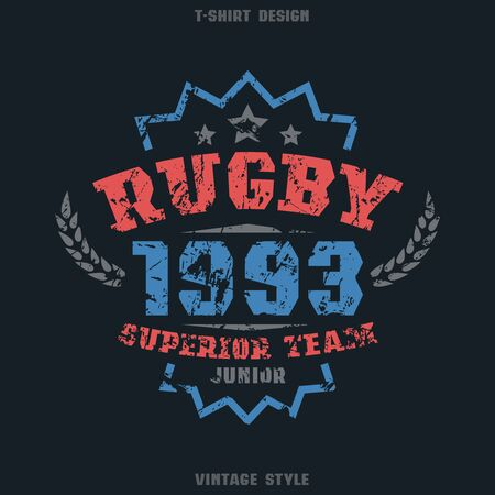 rugby team: Rugby team emblem. Graphic design for t-shirt. Color print on black  background