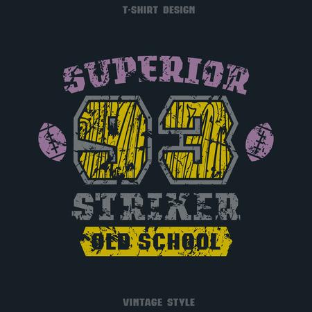 striker: Superior striker emblem. Graphic design for t-shirt. Color print on black  background