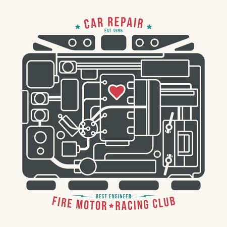 heart under: Under the hood. Color print on white background