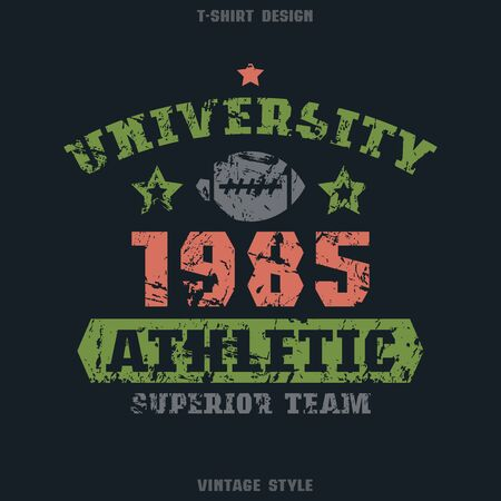 rugby team: University rugby team emblem. Graphic design for t-shirt. Color print on black  background