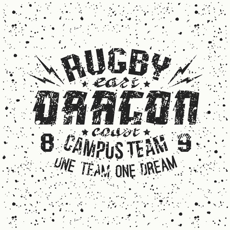 rugby team: Campus rugby team emblem. Graphic design for t-shirt.  Black  print on a  white background Illustration