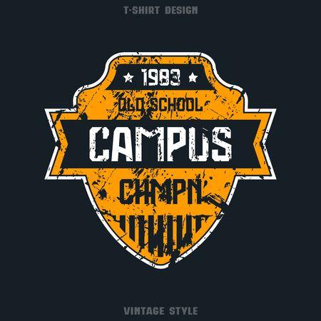 campus: Campus sport team emblem. Graphic design for t-shirt. Color print on black  background