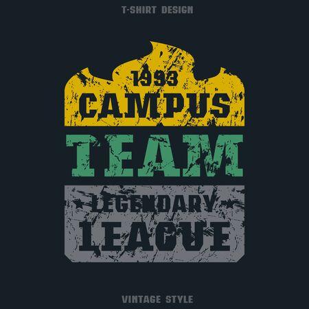 campus: Campus sports emblem. Graphic design for t-shirt. Color print on black  background Illustration