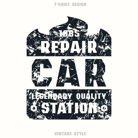 Car repair badge. Graphic design for t-shirt. Black print on white background