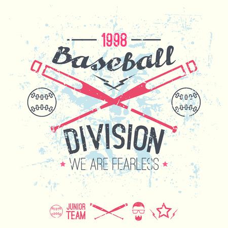 division: College baseball division emblem. Graphic design for t-shirt.  Color print on a  white background Illustration