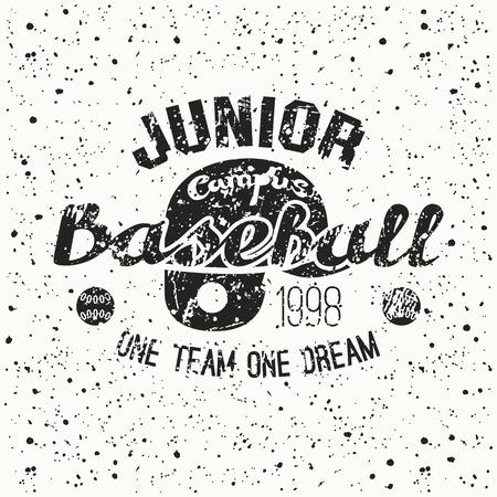 juniors: College baseball junior team emblem. Graphic design for t-shirt.  Black  print on a  white background