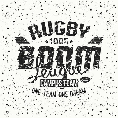 rugby team: College rugby team emblem in retro vintage style. Graphic design for t-shirt. Black print on a white background