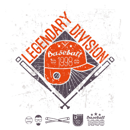 Emblem baseball legendary division of college. Graphic design for t-shirt.  Color  print on a  white background