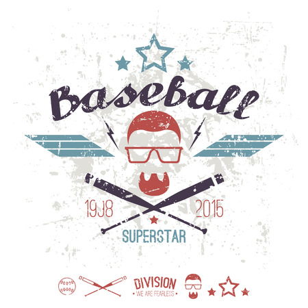 superstar: Emblem baseball superstar college team. Graphic design for t-shirt.  Color  print on a  white background