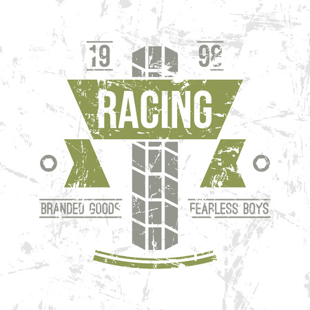 boyish: Emblem motorcycle racing club in retro style. Graphic design for t-shirt. Color print on white background