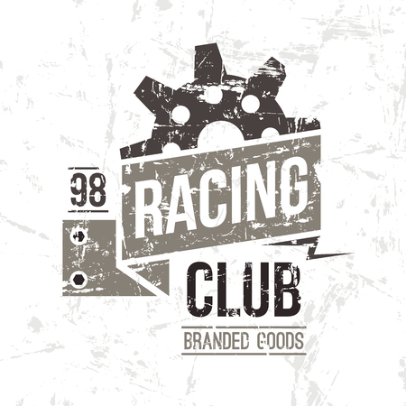 emblem racing: Emblem racing club in retro style. Graphic design for t-shirt. Color print on white background Illustration
