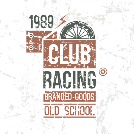 emblem racing: Emblem racing club old school in retro style. Graphic design for t-shirt. Color print on white background Illustration