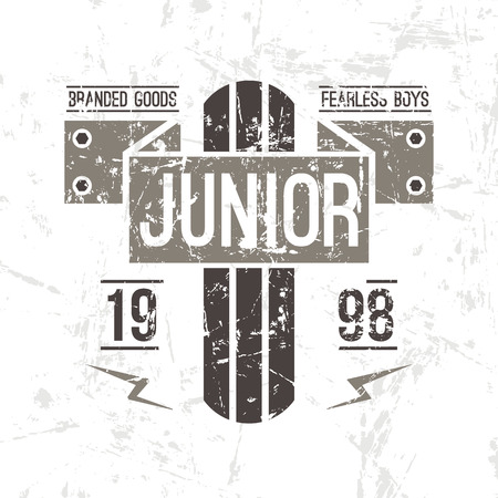 emblem racing: Emblem racing junior in retro style. Graphic design for t-shirt. Color print on white background