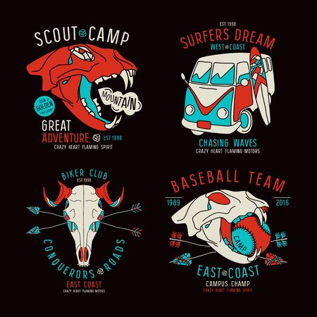 warlike: Graphic design for t-shirt with the image skulls of animals and surfer bus. Color print on black background