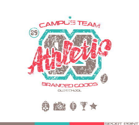 warlike: College rugby team emblem in retro style. Graphic design for t-shirt. Color  print on white background Illustration