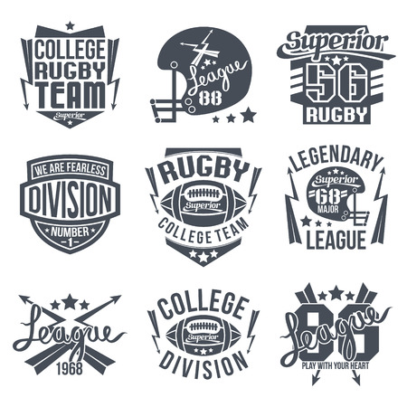 rugby team: College rugby team emblem graphic design for t-shirt. Black print on white background Illustration