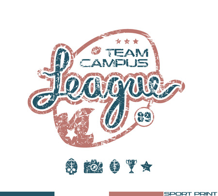 rugby team: College rugby team emblem in retro style. Graphic design for t-shirt. Color  print on white background Illustration
