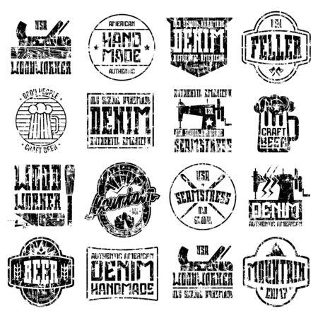 Handgemaakte badges in retro stijl. Houtbewerker, naaister, ambachtelijke bier, camping. Grafisch ontwerp met shabby textuur voor t-shirt. Zwarte print op een witte achtergrond. Stock Illustratie
