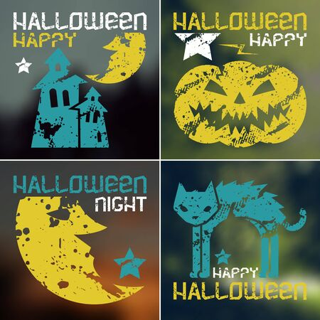 Happy halloween flyer in retro style.  Color silhouette on a  blurred background