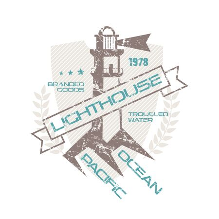 Lighthouse emblem  with shabby texture. Graphic design for t-shirt. Color print on white background