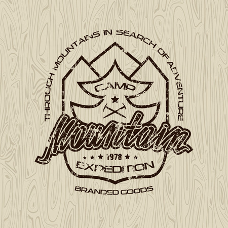 graphic texture: Mountain camp emblems with shabby texture. Graphic design for t-shirt. Black print on wood texture background Illustration